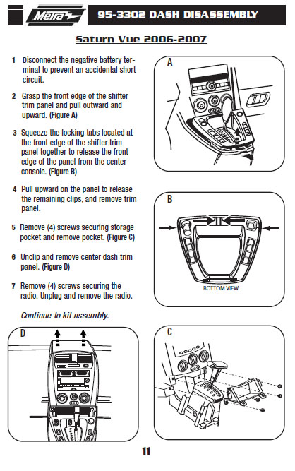 2007 SATURN VUEinstallation instructions