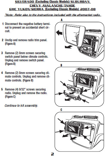 2008 Chevrolet Suburbaninstallation Instructions