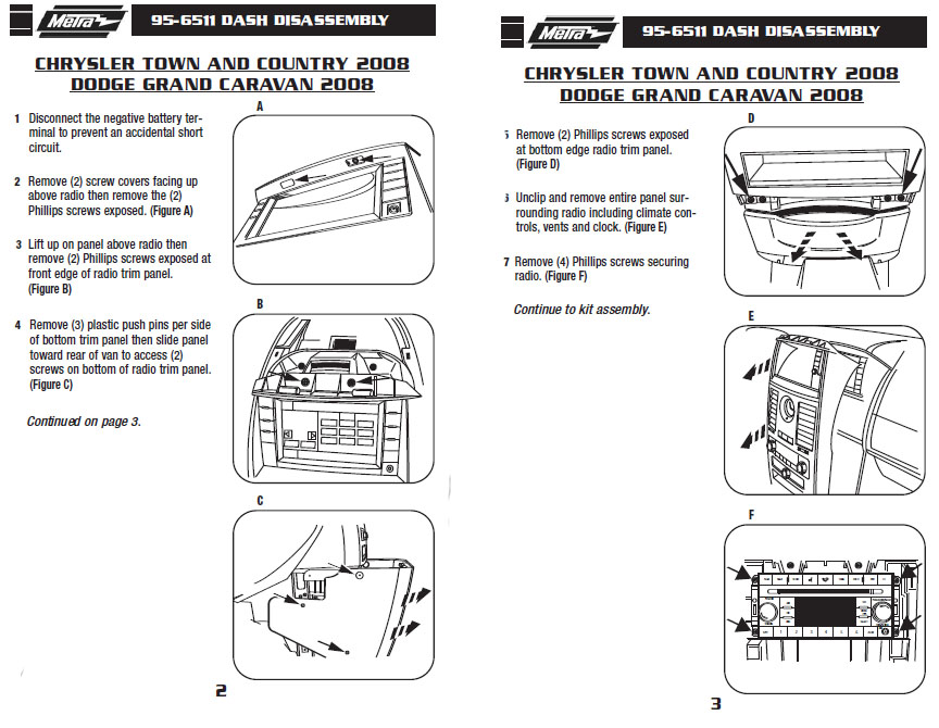 2008 CHRYSLER TOWN AND COUNTRYinstallation instructions