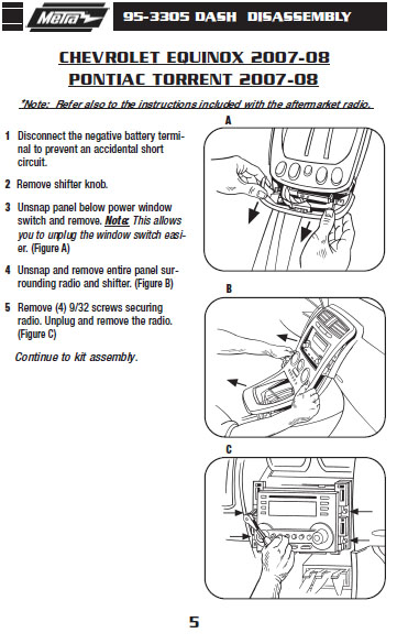 2008 pontiac torrentinstallation instructions