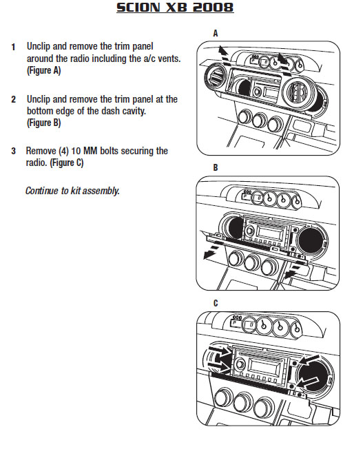 2008 SCION xBinstallation instructions