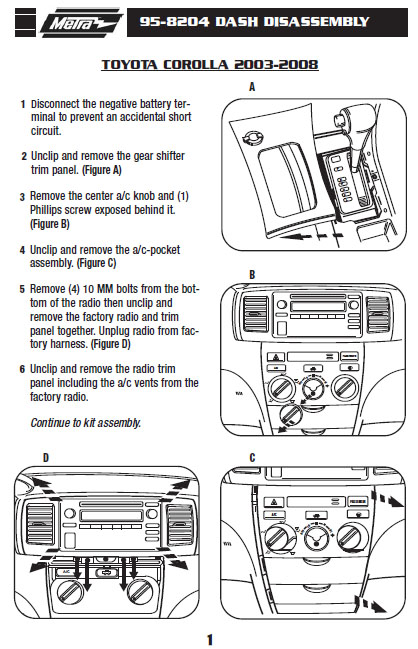 2008 toyota corollainstallation instructions. Black Bedroom Furniture Sets. Home Design Ideas