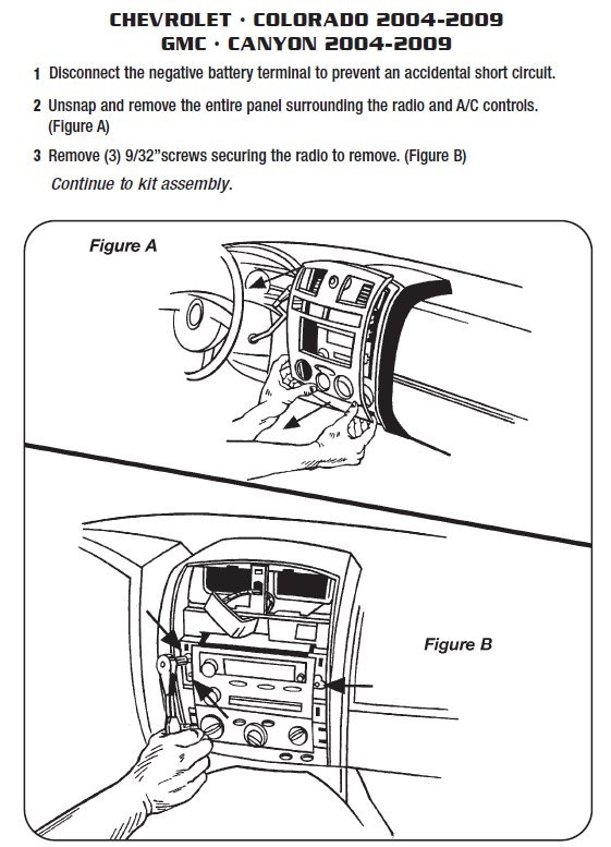 2009 CHEVROLET COLORADOinstallation instructions