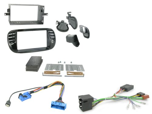 fiat 500 double din radio installation kit black with wire harness steering  wheel interface 2008 black 2 din facia