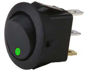 .Green LED round rocker switch.