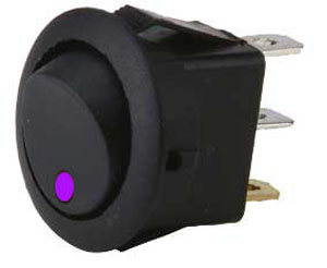 .Purple LED round rocker switch.