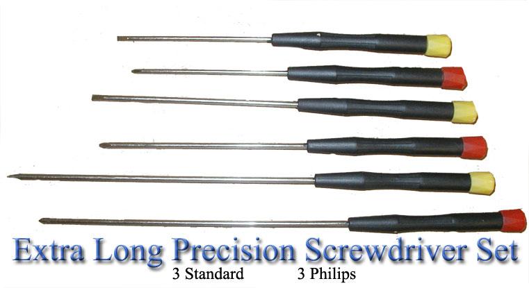 6 pc extra long precision screwdriver set 3 standard 3 phillips rocs kw4011. Black Bedroom Furniture Sets. Home Design Ideas