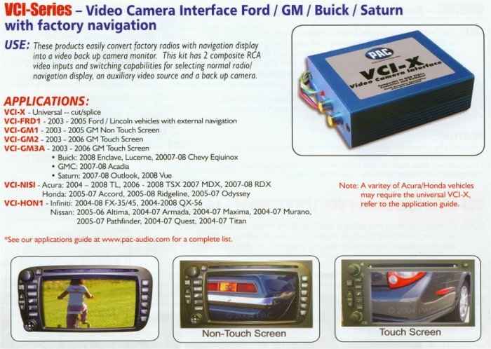 .Back-Up Camera Video Interface for Select Nissan, Infiniti Vehicles.