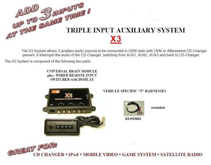 Triple Input Auxiliary Input Converter for select 2003 2008