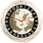 MFJ 115 24 HR, WORLD MAP ANALOG WALL CLOCK